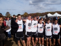 High School Cross Country team after third place finish at State Championships.  From right, Mike Moverman, Jake Marcus,