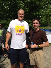 "Rob Gronkowski and Jake Marcus enjoy a laugh at the ""Gronk Clambake"""